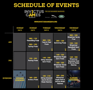 Invictus Games 2016 Schedule for Our Wounded Warriors