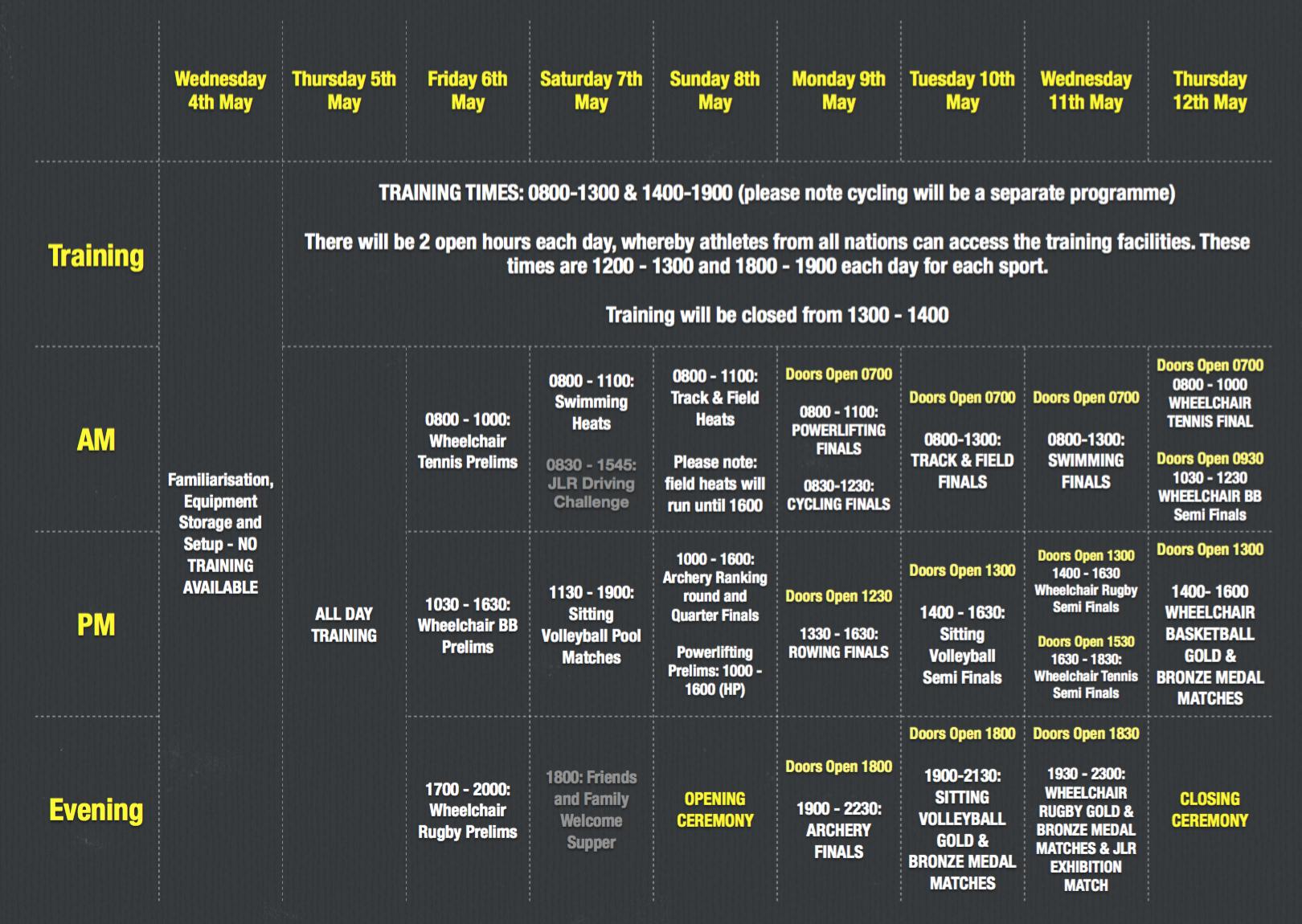 Invictus Games 2016 Schedule of Events