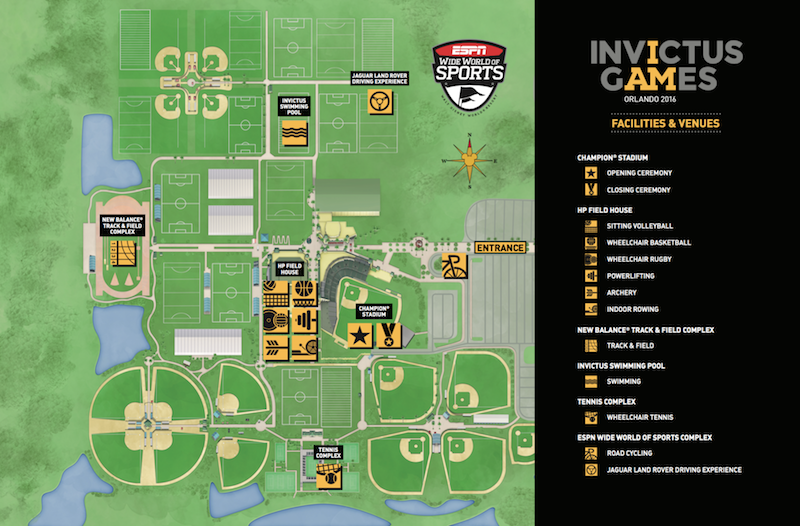 Map of ESPN Wide World of Sports for Invictus Games 2016